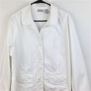 Chicos Womens White Long Sleeve Button Up Jacket 3